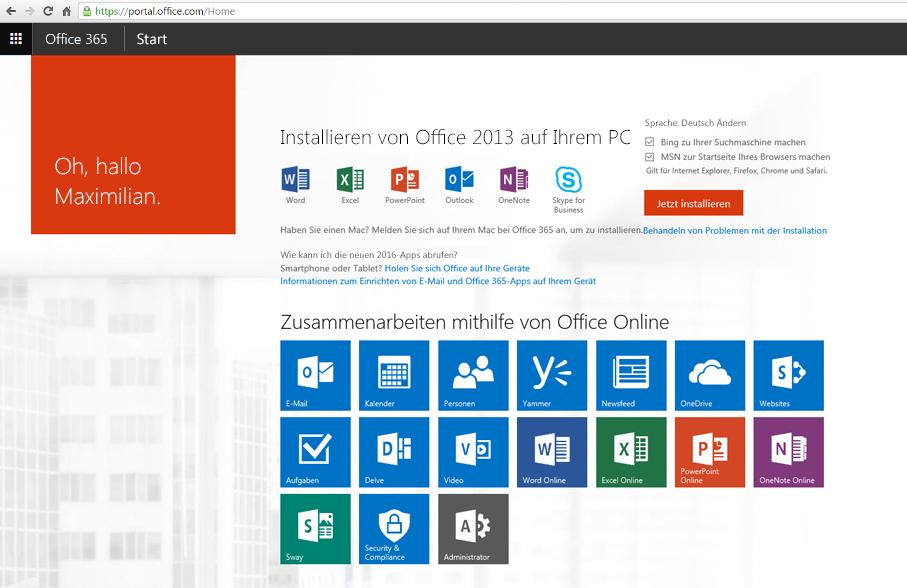 Screenshot der Vorgehensweise zum Installieren von Office 365 auf einem PC