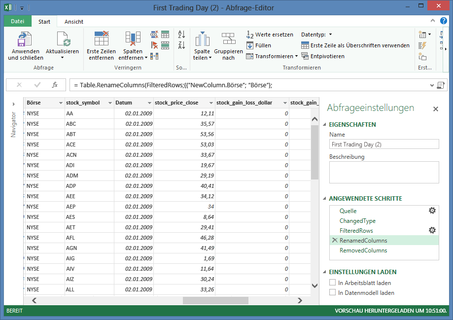 Shape-Daten (Power Query) - Excel