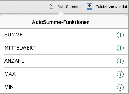 AutoSumme-Funktionsmenü