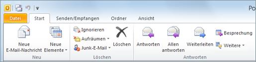 So sieht das Menüband in Outlook 2010 aus.