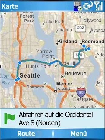 Karte mit angezeigter Route von Seattle nach Redmond