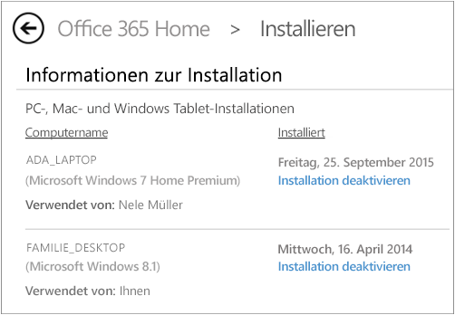 Screenshot der Installationsseite mit dem Computernamen und dem Namen der Person, die Office installiert hat