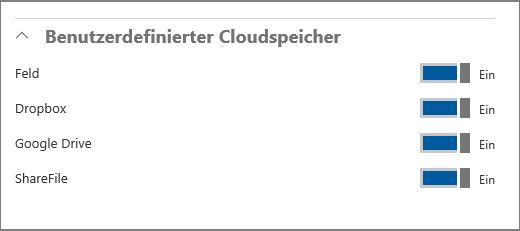 Cloudoptionen
