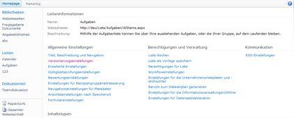 Seite 'Bibliothekseinstellungen' mit angezeigtem Link 'Versionierungseinstellungen'