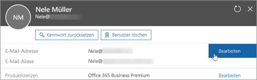 """Wählen Sie neben der primären E-Mail-Adresse die Option """"Bearbeiten"""" aus."""