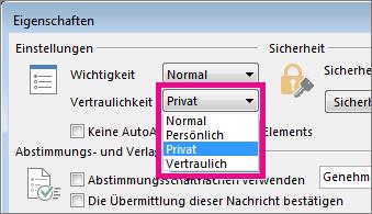 Klicken Sie neben 'Vertraulichkeit' auf 'Privat'.