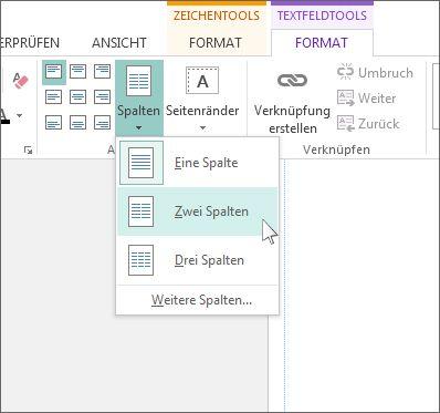 """Screenshot von """"Textfeldtools"""" > """"Spalten"""" in Publisher"""