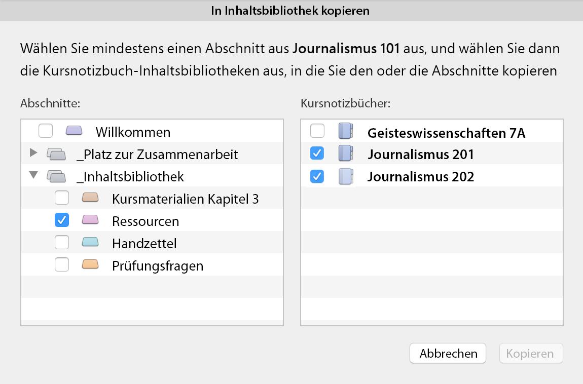 In Inhaltsbibliothek kopieren (Dialogfeld)