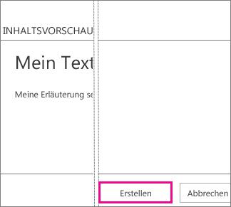 Schaltfläche 'Erstellen' im Feld 'Text hinzufügen'