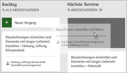 Der Screenshot zeigt, wie ein Vorgang aus einer Spalte des Task Boards in eine andere verschoben wird.