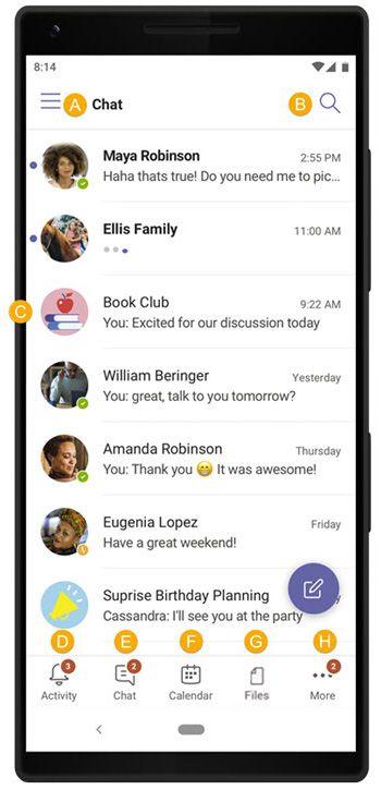 """Teams für Ihre Privatleben, Screenshot der Registerkarte """"Chat"""". Komprimiert"""
