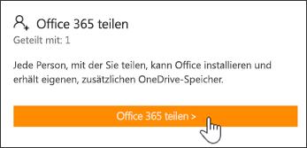 """Der Abschnitt """"Office 365 teilen"""" auf der Seite """"Mein Konto"""", bevor das Abonnement mit einer anderen Person geteilt wurde."""
