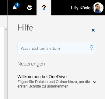 Hilfebereich in OneDrive for Business