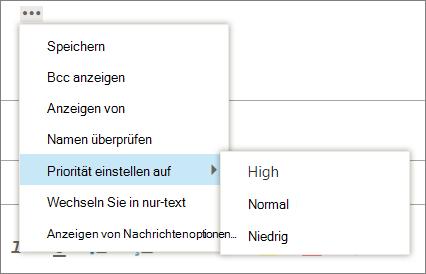 Ein Screenshot zeigt die zusätzlichen Optionen, die für Nachrichten zur Verfügung stehen, wobei die Option für die Wichtigkeit der Priorität festgelegt ist, die Werte hoch, normal und niedrig anzeigt.