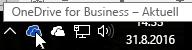 """Screenshot, der den Cursor beim Zeigen auf das blaue OneDrive-Symbol mit dem Text """"OneDrive for Business"""" darstellt."""