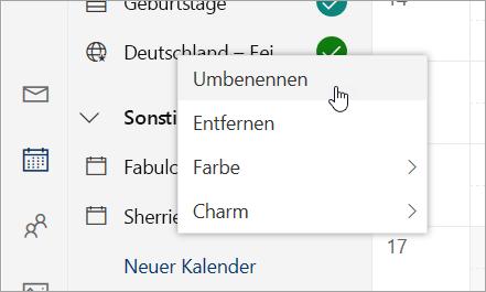 "Screenshot des Kontextmenüs ""Kalender"""