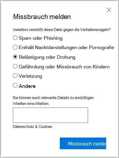 Screenshot des Dialogfelds Missbrauch Bericht im Feld in OneDrive
