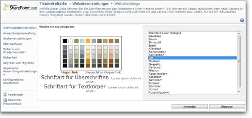 Ein Design für die Website auswählen