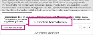 Schaltfläche 'Fußnoten formatieren' im Fußnotenbearbeitungsbereich von Word Online