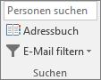 """Wählen Sie in Outlook auf der Registerkarte """"Start"""" in der Gruppe """"Suchen"""" die Option """"Adressbuch"""" aus."""