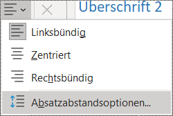 "Screenshot der Option ""Absatzabstand"" im Menü ""Start""."