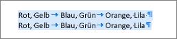 Beispiel für Quelltext, der in eine Tabelle konvertiert werden kann