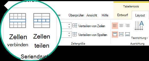 Zusammenführen, Teilen oder Löschen von Tabellenzellen