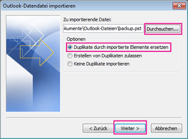 Outlook 2010 Export Pst >> Importieren von Kontakten in Outlook - Office-­Support