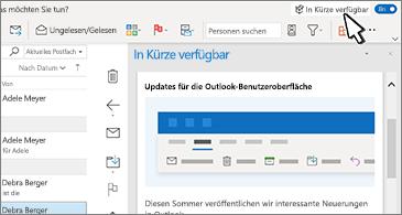 """Posteingang mit Bereich """"In Kürze verfügbar"""" auf der rechten Seite des Bildschirms"""