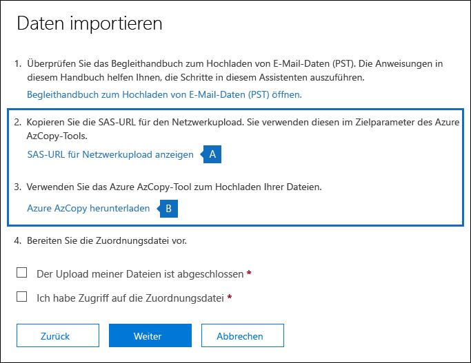 Kopieren Sie die SAS-URL, und Laden Sie das Tool Azure AzCopy auf der Seite importieren