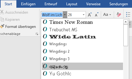 Die neue Schriftart wird nun in der Liste der Schriftarten in Word angezeigt.