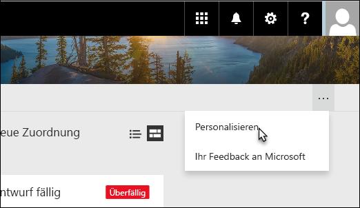 """Auslassungszeichen und dann """"Personalisieren"""" auswählen"""