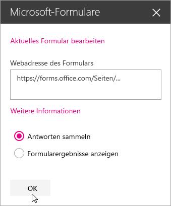 """Nach dem Erstellen eines neuen Formulars wird die Webadresse des Formulars im Bereich """"Microsoft Forms-Webpart"""" angezeigt."""