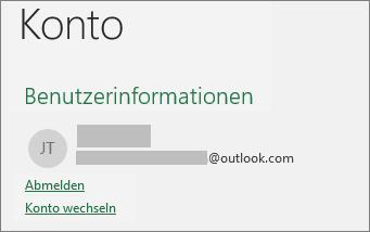 Zeigt den Link zum Abmelden in der Backstage-Ansicht von Office unter Windows an.