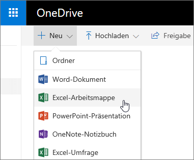 "OneDrive-Menü ""Neu"", Excel-Befehl ""Arbeitsmappe"""