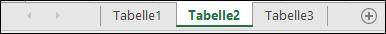 Arbeitsblattregisterkarten am Fuß des Excel-Fensters
