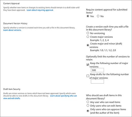 Dialogfeld mit Auswahlmöglichkeiten für die Versionsverwaltung