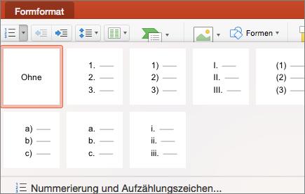 """Screenshot der verfügbaren Nummerierungsformatvorlagen bei Auswahl des Pfeils auf der Schaltfläche """"Nummerierung"""""""