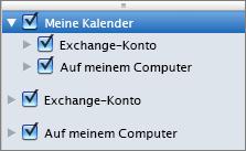 """Outlook 2016 für Mac, Gruppe """"Meine Kalender"""""""