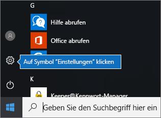 """Klicken Sie im Startmenü auf das Windows-Symbol """"Einstellungen"""""""