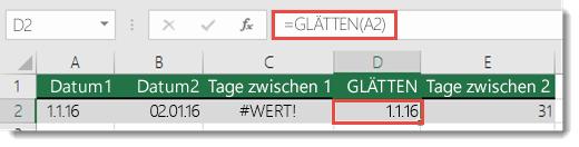 """Verwenden von GLÄTTEN(), um führende oder nachgestellte Leerzeichen zu entfernen – die Formel in Zelle D2 lautet """"=GLÄTTEN(A2)"""""""