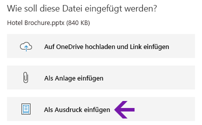 "Option ""Dateiausdruck"" in OneNote für Windows 10"