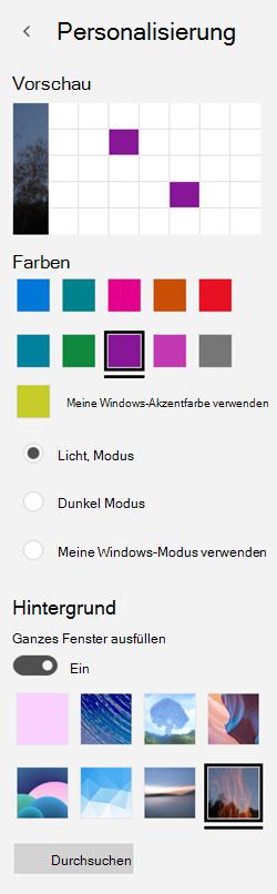 Auswählen eines Hintergrundbilds und von benutzerdefinierten Farben für Ihre apps