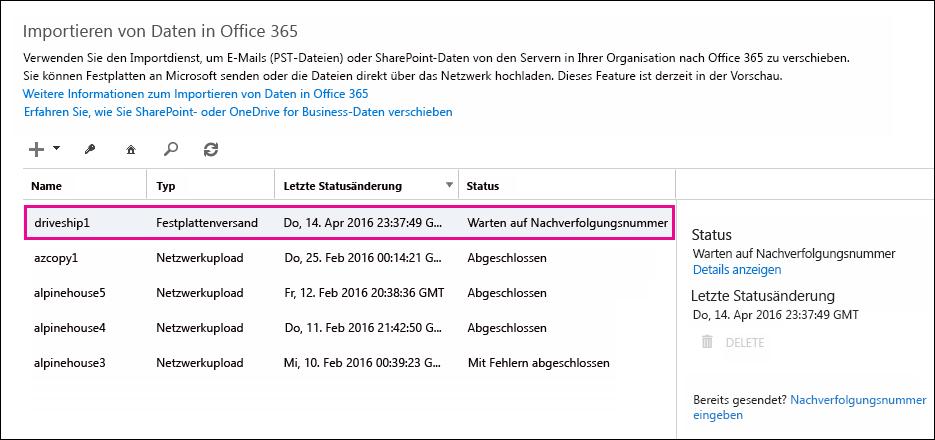 """Neuer Laufwerkversandauftrag auf der Seite """"Daten in Office 365 importieren"""""""
