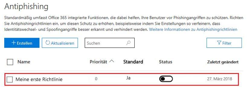 Anti-Phishing-- vorhandene Richtlinie ändern