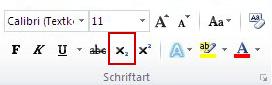 """Der Befehl """"Tiefstellen"""" in der Gruppe """"Schriftart"""""""