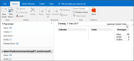 """Screenshot der Ansicht """"Outlook Heute"""" in Outlook mit den Namen der Besitzer des Postfachs, den aktuellen Tag und Datum und zugeordneten Kalender, Aufgaben und Nachrichten für den Tag fest."""