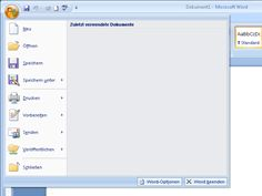 Microsoft Office-Schaltfläche mit geöffnetem Menü