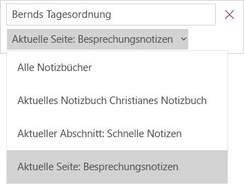 """Dropdownliste """"Suchen"""" mit Bereichsoptionen, aktuelle Seite aktiv"""