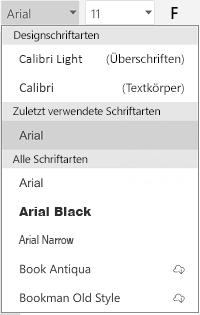 Schriftartenliste